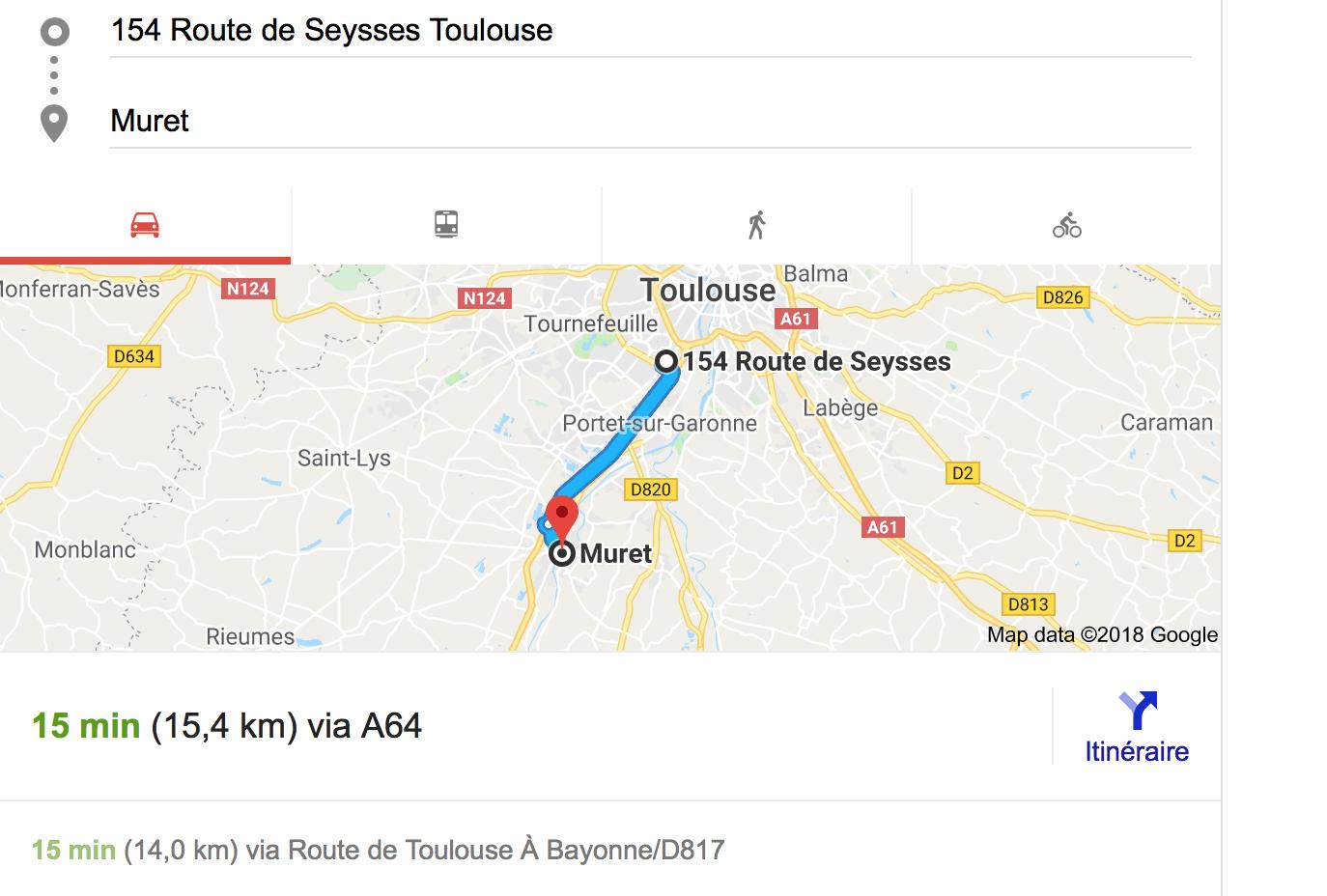 Carte itinéraire Muret bureau Toulouse - Bureaux à Toulouse