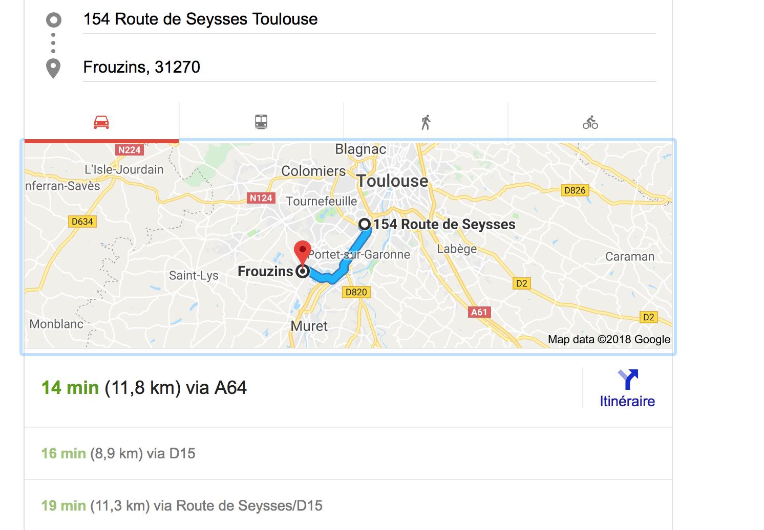 carte itinéraire Frouzins bureaux Toulouse - Contact