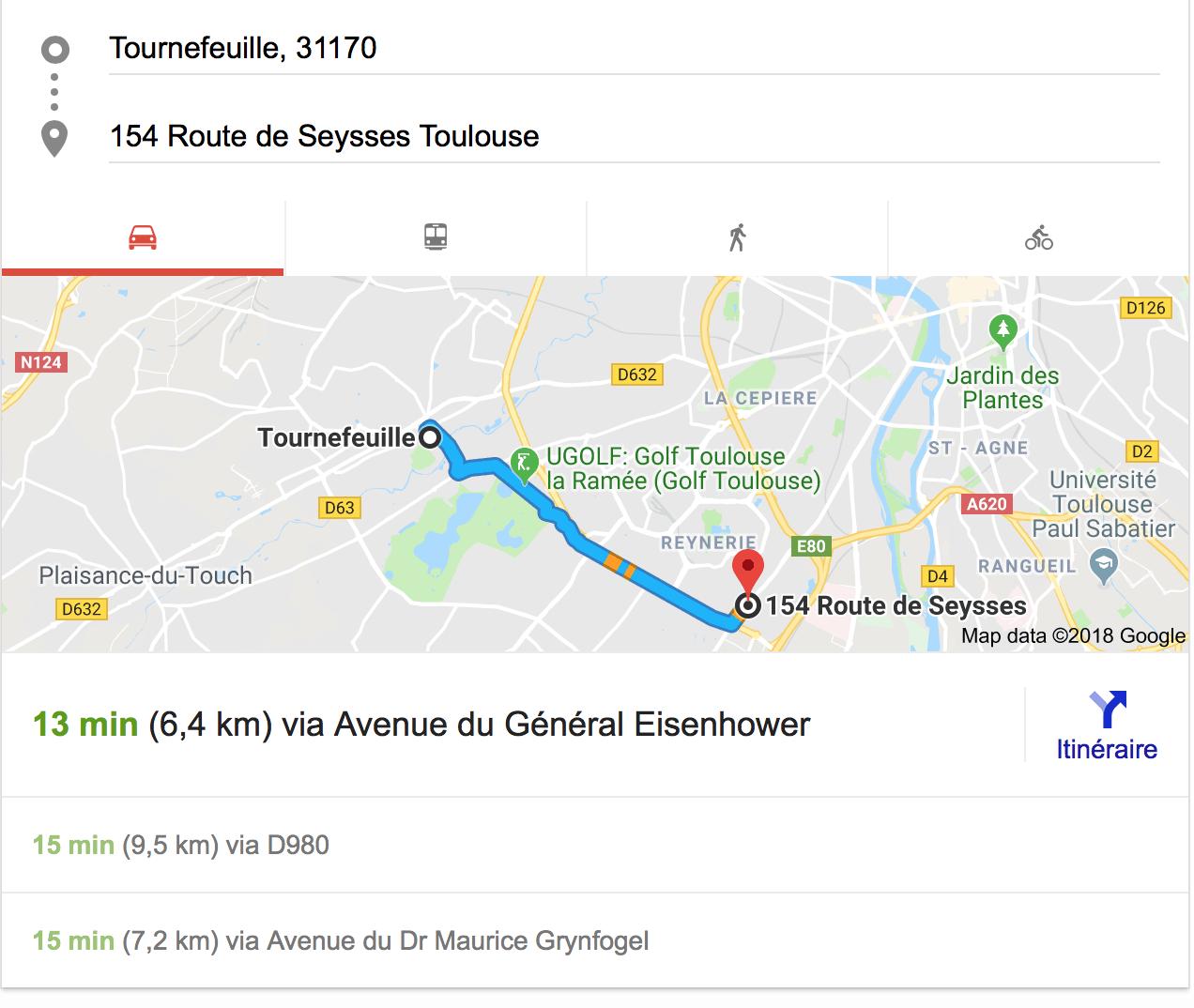 plan itinéraire Tournefeuille bureaux Toulouse - Bureaux à Toulouse